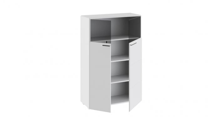 Шкаф комбинированный с 2-мя дверями «Наоми» Белый глянец