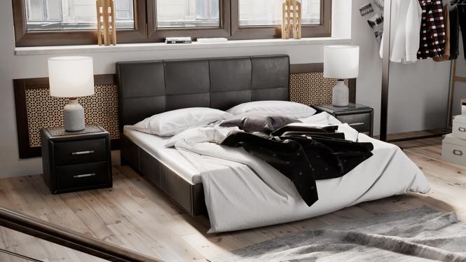 Кровать мягкая тип 1 «Элис» темный кожзам