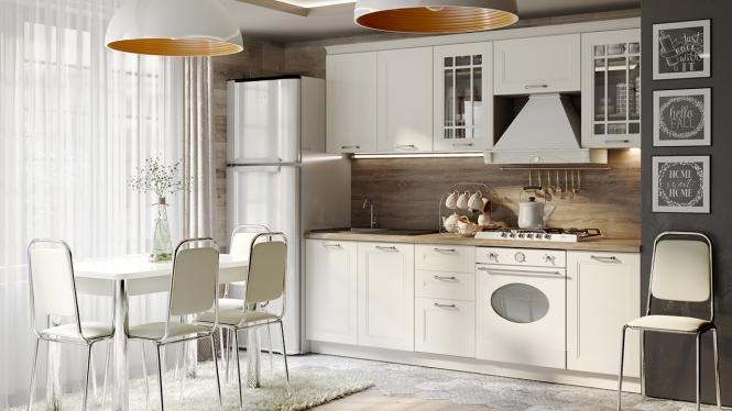 Модульная кухня «Одри» Бежевый шелк