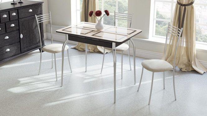 Стол обеденный раздвижной «Рим» СМ-218.01.01 Венге/стекло бежевое с рисунком