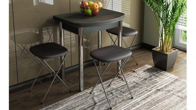 Стол обеденный с хромированными ножками «Лион (мини)» СМ-204.01.2 Венге